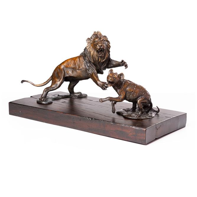 Lion and Hyena Bronze Sculpture