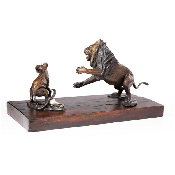 Lion and Hyena Bronze Sculpture