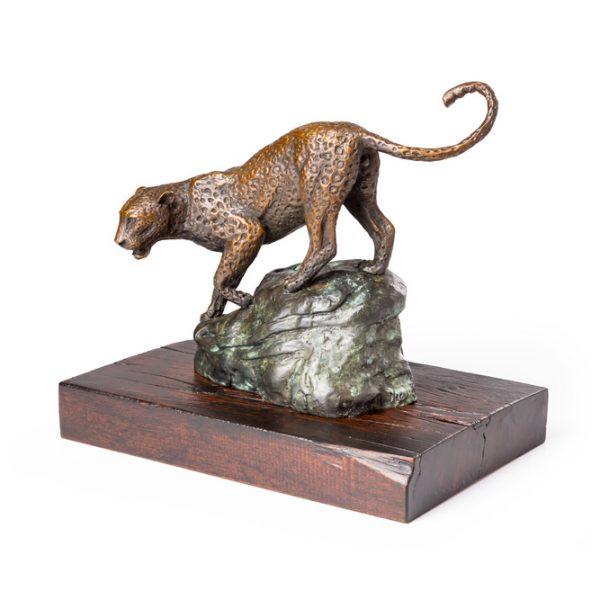 African Leopard bronze sculpture