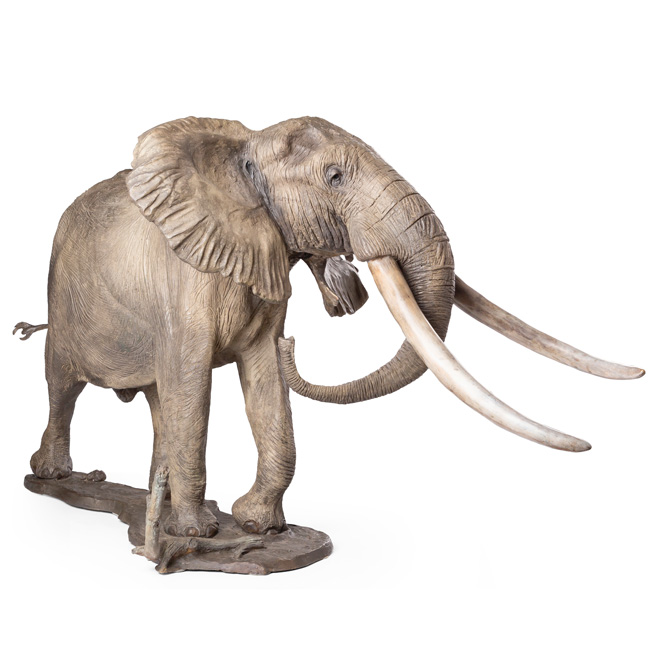 Mandleve - Big Tusker Elephant bronze sculpture