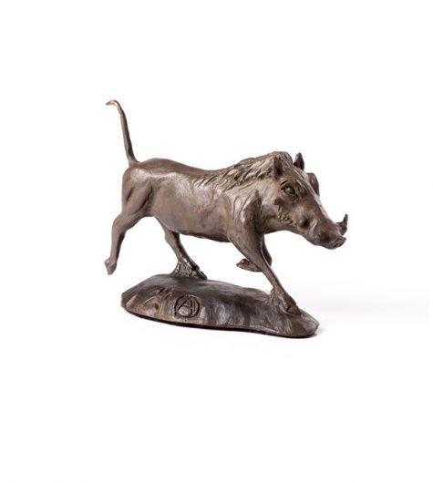 Warthog Running bronze sculpture in natural patina.