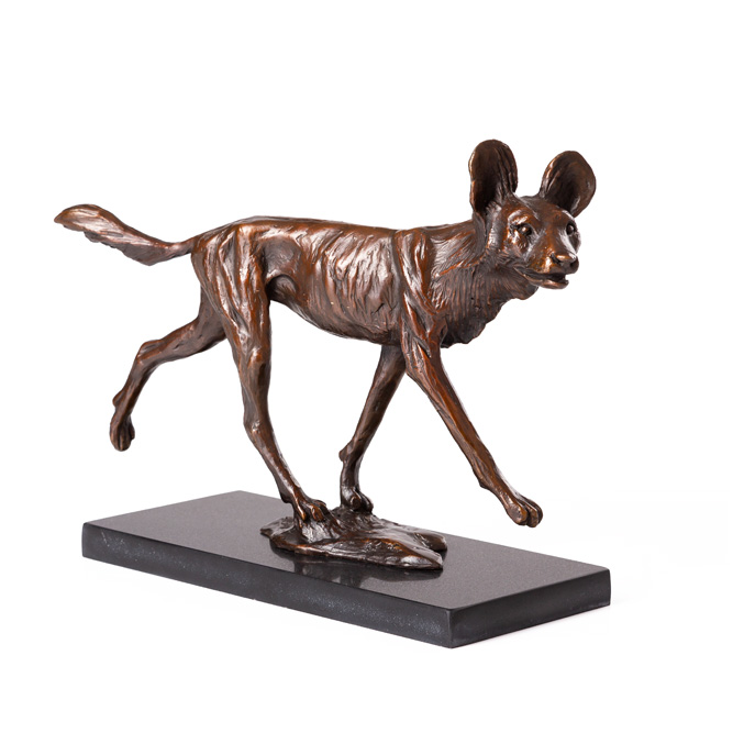 African Wilddog bronze sculpture