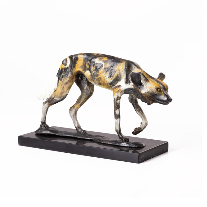 African Wilddog bronze sculpture in natural patina