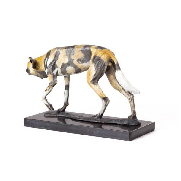 African Wilddog bronze sculpture in natural patina